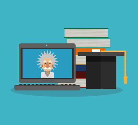 einstein: Einstein and laptop icon. Science laboratory chemistry and research theme. Colorful design. Vector illustration Illustration