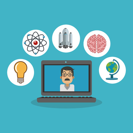 science scientific: Laptop and scientific icon. Science laboratory chemistry and research theme. Colorful design. Vector illustration