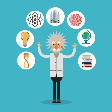 einstein: Einstein icon. Science laboratory chemistry and research theme. Colorful design. Vector illustration Illustration