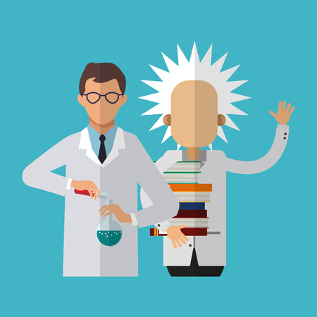 science scientific: Einstein and scientific icon. Science laboratory chemistry and research theme. Colorful design. Vector illustration