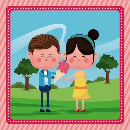 cheerfully: boy giving flowers girl smile rural landscape vector illustration eps 10