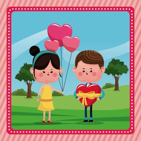 girl balloons heart boy gift valentine day rural landscape vector illustration eps 10