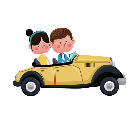 and two friends: couple traveling classic car lovely vector illustration eps 10 Stock Photo