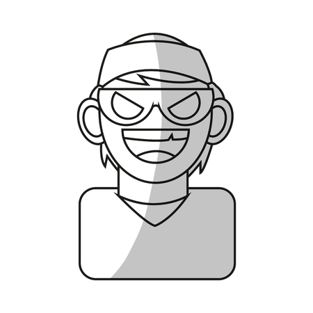 piracy: Hacker icon. Security system warning protection and danger theme. Isolated design. Vector illustration