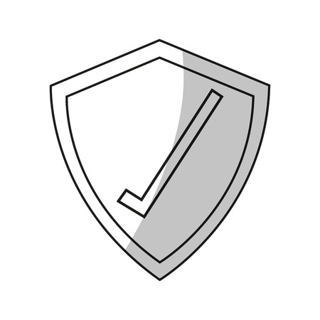 check system: Check mark inside shield icon. Security system warning protection and danger theme. Isolated design. Vector illustration