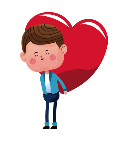 cute boy carrying on back red heart vector illustration eps 10 Illustration