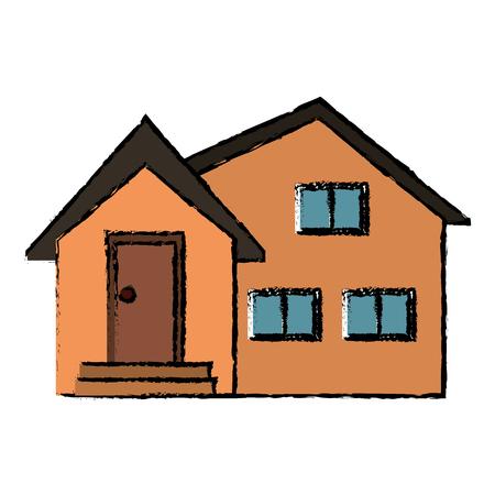 housing project: housewarming facade exterior design vector illustration eps 10