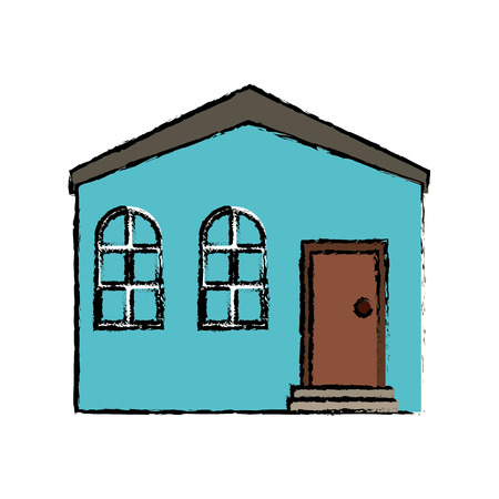 residence: drawing blue house private residence structure vector illustration eps 10 Illustration
