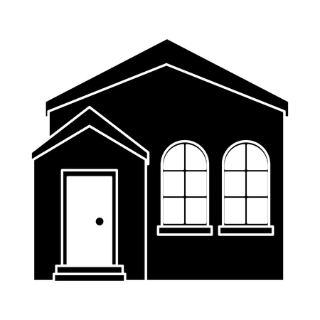 residential neighborhood: silhouette home real state expensive american modern vector illustration eps 10
