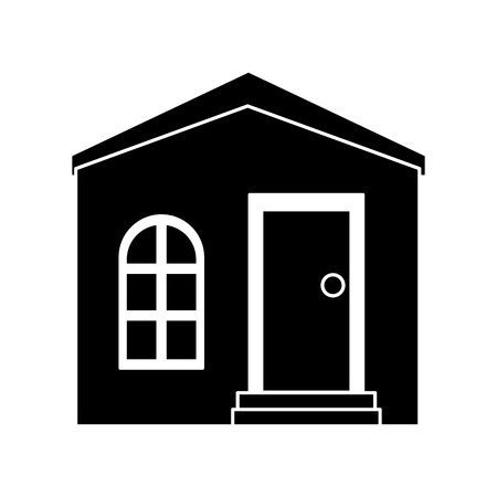 residence: silhouette house private residence structure vector illustration eps 10 Illustration