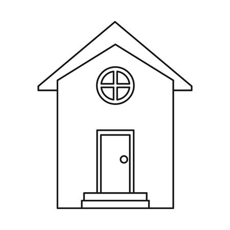 residence: house building town residence outline vector illustration eps 10