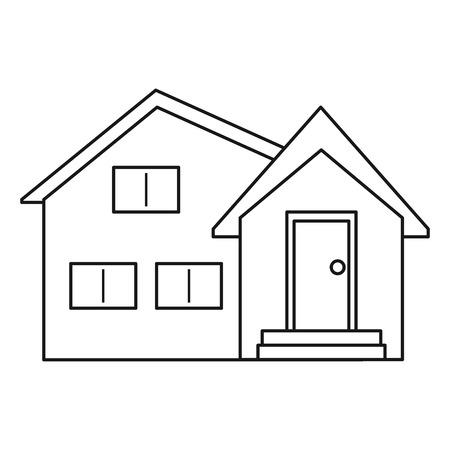 housing project: housewarming facade exterior outline vector illustration eps 10