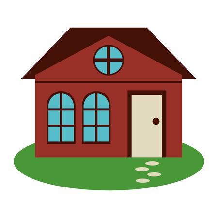 suburban: house family architectural suburban garden vector illustration eps 10