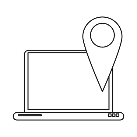 rout: laptop pin map app gps line vector illustration eps 10