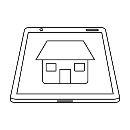 real estate tablet app design line vector illustration eps 10 Illustration