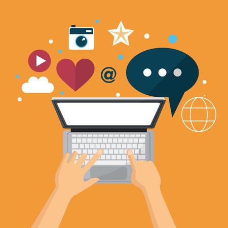 hand using laptop social media network vector illustration eps 10