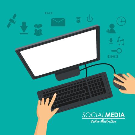 social media computer working vector illustration eps 10