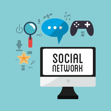 esp: computer social network game chat vector illustration esp 10
