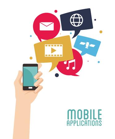 hand hold smartphone mobile applications vector illustration eps 10 Illustration