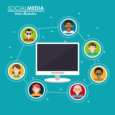 social media group interaction computer digital vector illustration eps 10