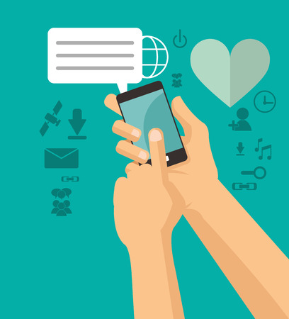 hands holds cellphone sending message chating vector illustration eps 10 Illustration