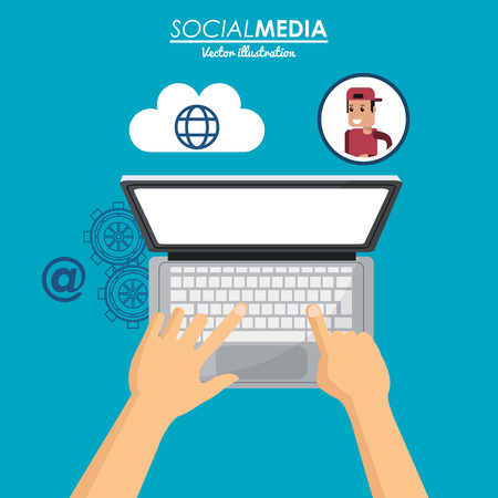 using laptop social media cloud connection vector illustration eps 10