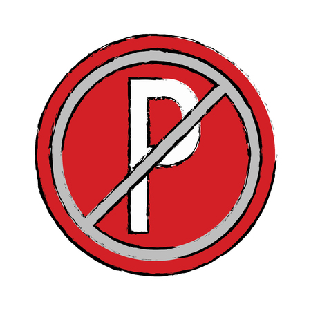 drawing prohibited parking car sign traffic vector illustration