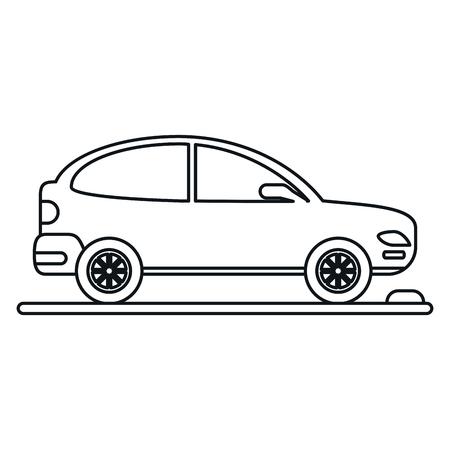 silhouette voiture: voiture coupé stationnement vecteur linéaire illustration