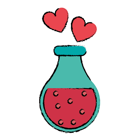 drawing bottle elixir love potion hearts vector illustration