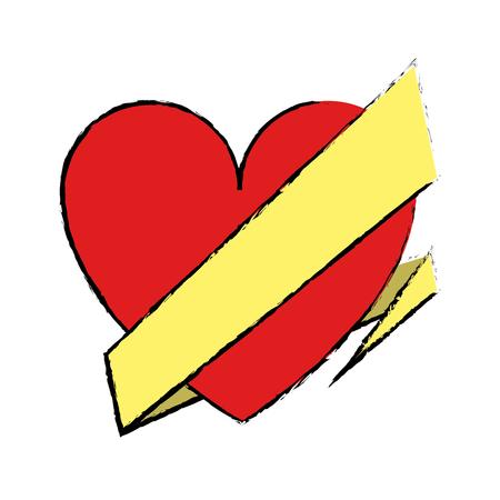 wrap: drawing love heart wrap ribbon vector illustration