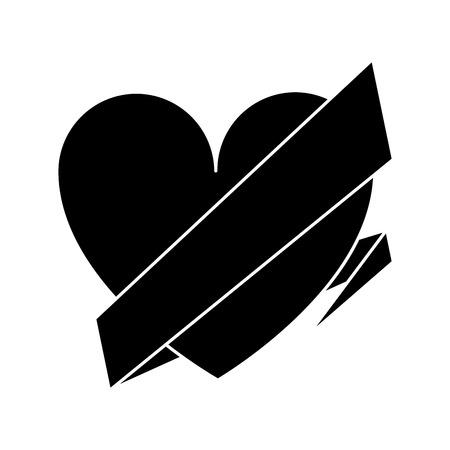 wrap: silhouette love heart wrap ribbon vector illustration Illustration