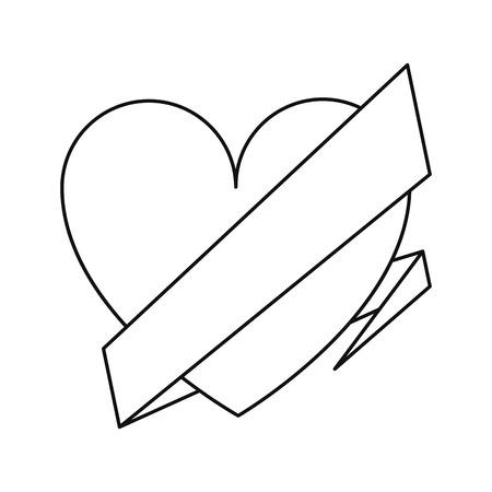 wrap: love heart wrap ribbon celebration romantic line vector illustration