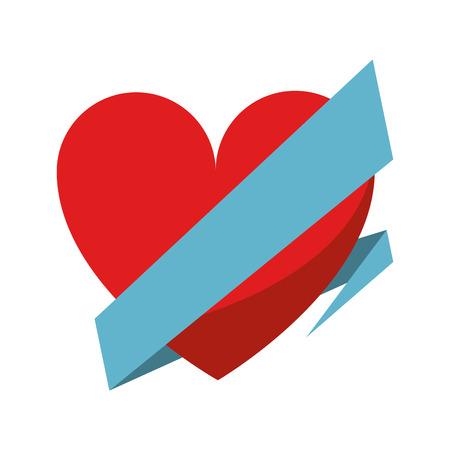 wrap: love heart wrap ribbon vector illustration