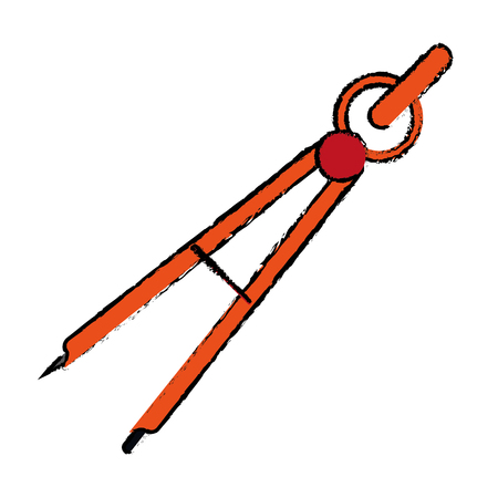 school: drawing school compass tool study vector illustration