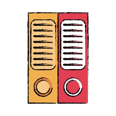 dibujo de dos archivo de documentos carpeta de la oficina folio ilustración vectorial Vectores