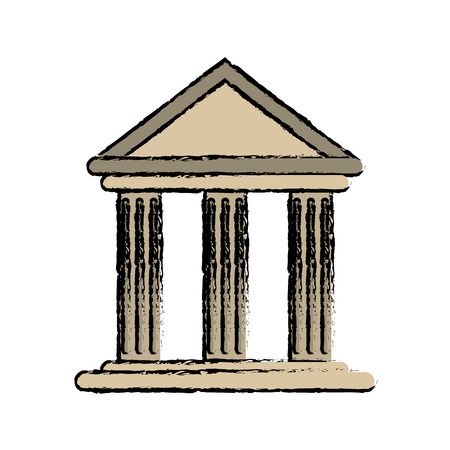 drawing building office bank structure vector illustration Illustration