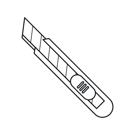 cutter: cutter knife packing box outline vector illustration Illustration