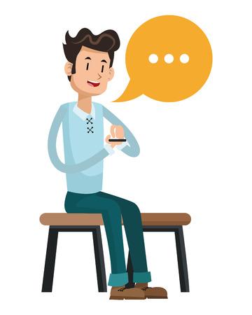 using smart phone: man sit message chatting social media vector illustration