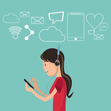 girl using smartphone headphones social media background vector illustration eps 10