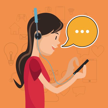 girl mobile headphones chat communication social media vector illustration