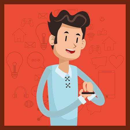 man smartphone smile social media orange background vector illustration Illustration