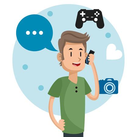 man social media communication talk camera game vector illustration