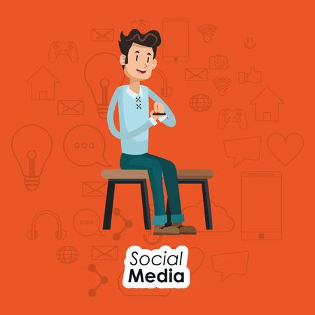 man sitting on chair social media orange background vector illustration
