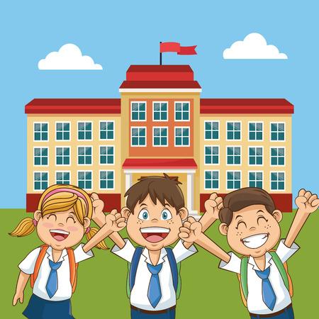 back yard: cheerful student school building back yard vector illustration Illustration