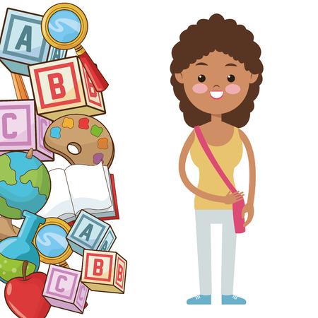 comedor escolar: afro pupila muchacha niño suministra la ilustración vector de la escuela
