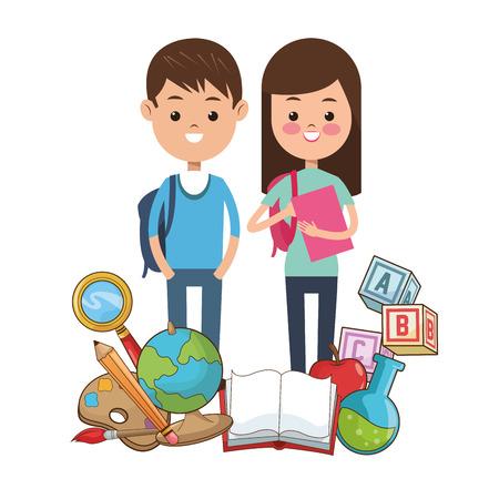 school kit: kids student school supplies tools vector illustration