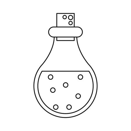 bottle elixir love potion line vector illustration eps 10