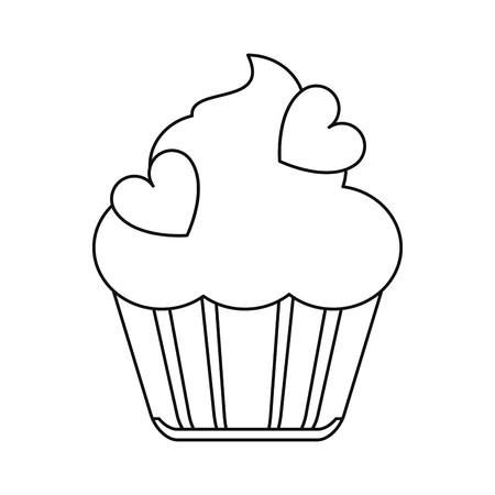 cup cake love line vector illustration eps 10