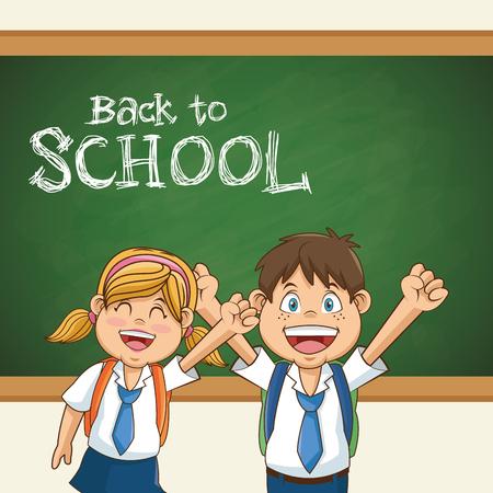 de nuevo a la ilustración vectorial de educación uniforme estudiante de escuela