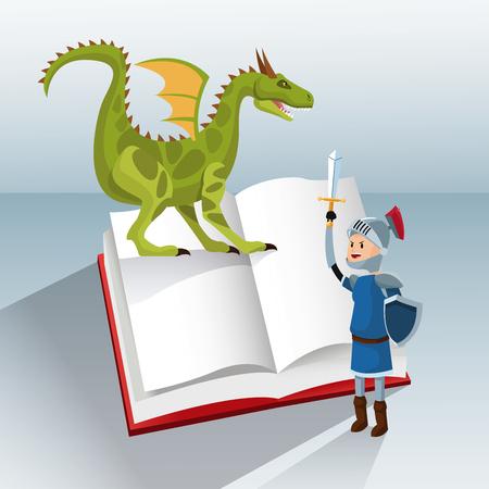 dragon knight book tale fantasy vector illustration